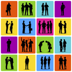 Isolated Silhouettes of Business People Working