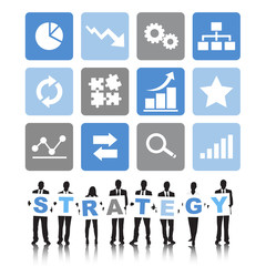 Silhouettes of Business People and Strategy Concept