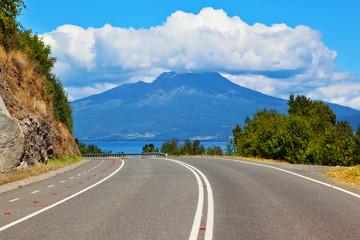 The road leads to volcano Osorno