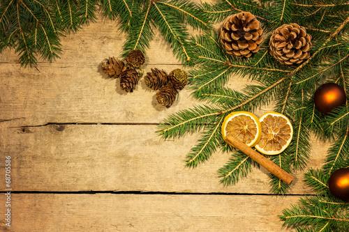 canvas print picture Weihnachtsdeko auf Holz Hintergrund