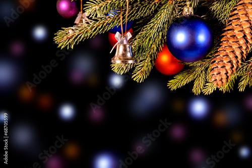 canvas print picture festlicher vielfarbiger Weihnachtshintergrund mit bunten Kugeln