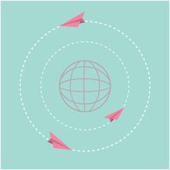 Origami paper plane world globe. Dash line circle Flat