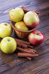 Fresh apples, cinnamon