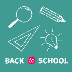 Magnifier pencil light bulb chalk effect Flat  Back to school