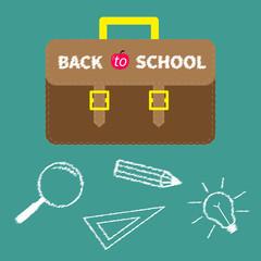 Schoolbag briefcase. Magnifier, pencil, light bulb, ruller chalk