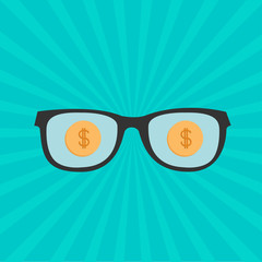 Glasses and gold dollar coin inside. Sunburst background. Flat