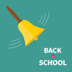 Ringing gold bell with handle Back to school chalk text Flat
