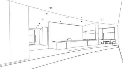 outline sketch of a interior reception  area