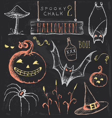 Vintage Chalkboard Halloween Hand Drawn Vector Set 2