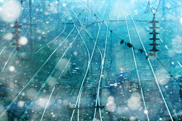 railroad rails overnight snowfall