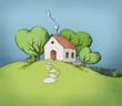 Kleines Haus auf einem grünen Hügel