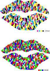 cmyk and rgb pop art lips