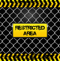 Restricted area sign - wire fence and yellow tapes illustration
