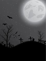 Halloween background with pumpkin, bats and big moon