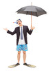 Businessman with diving mask holding an umbrella