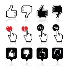 Cursor hand - like, unlike, love, vote yes or no icons set