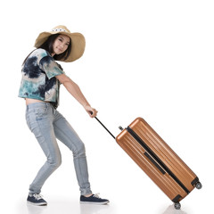 woman drag a luggage