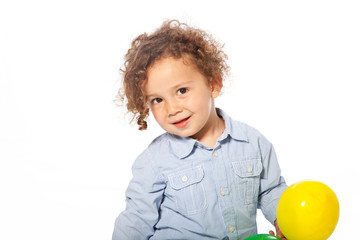 Cute Caucasian Kid Holding Yellow Ball