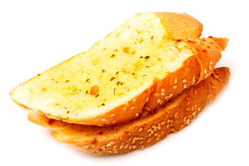 garlic bread in isolated on white background