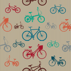 Vintage Bicycles Seamless Pattern
