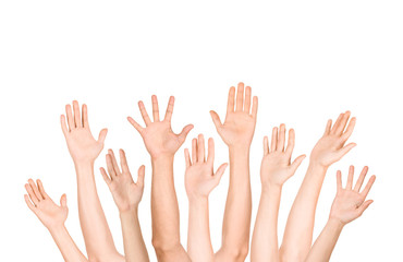 many open hand up on isolated white background,business concept
