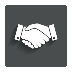 Handshake sign icon. Successful business symbol.