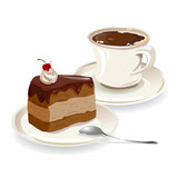 cup of coffee and a piece of cake
