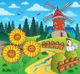 Sunflowers near windmill