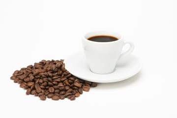 Cup of coffee with bean