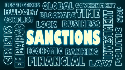 sanctions neon shine text and relative tags cloud