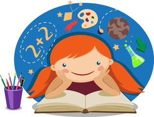 illustration of a girl reading a textbook