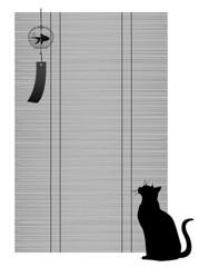 簾と猫と風鈴