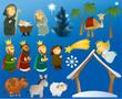 Set of Christmas scene elements - 68712912