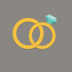 Wedding rings vector icon
