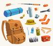 Camping equipment. Vector illustration. - 68713707
