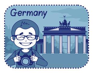 Illustration with Brandenburg Gate in Berlin