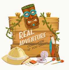 Real Adventure. Vector illustration.