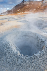 Mud pots in the geothermal area Hverir, Iceland
