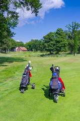 Golf bags on Swedish golf course