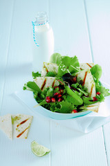 Gourmet Fresh Green Salad with Milk