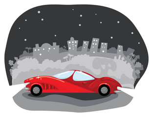 Luxury car with night city on the background