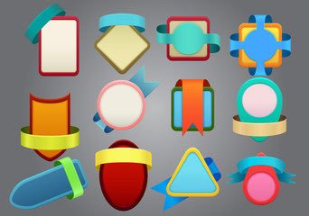 Colorful badges on gray background
