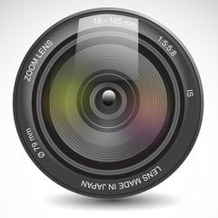 Camera lens - realistic vector illustration.