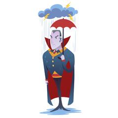 Funny cartoon Dracula vampire character