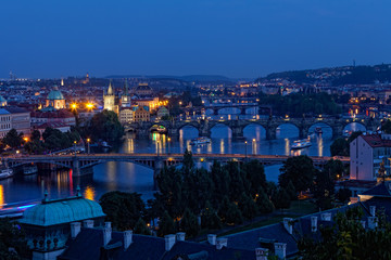 View of Prague at night: river Vltava and bridges