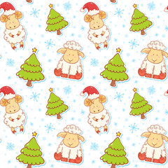 Festive new year winter seamless pattern