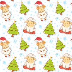 Festive new year winter seamless pattern