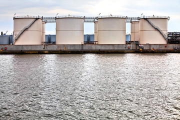Gasoline storage tanks in the seaport.