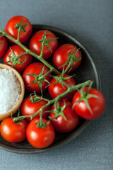 Cherry tomatoes with natural sea salt