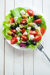 Nutritious fresh salad with feta and olives